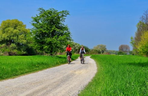 Couple riding bicycles down a gravel road through a large, green grass country side